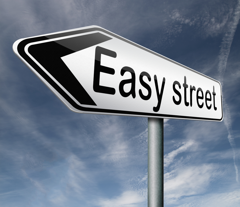 """sign that points to """"easy street"""""""