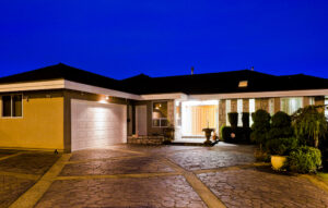 brightly lit home exterior