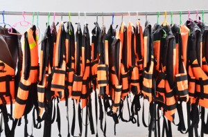 rack of life jackets