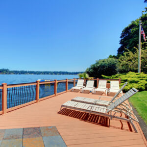 pristine deck overlooking the lake