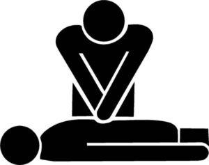 Stick figure giving CPR