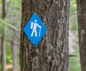 hiking sign in the woods
