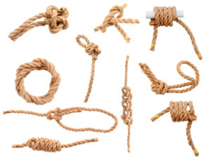 various kinds of knots on display