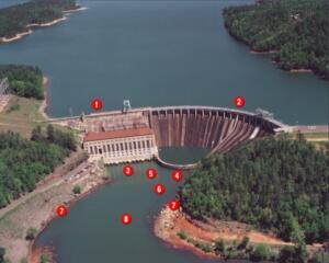 lake martin dam aerial view