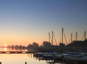 Sailboats docked at sunset