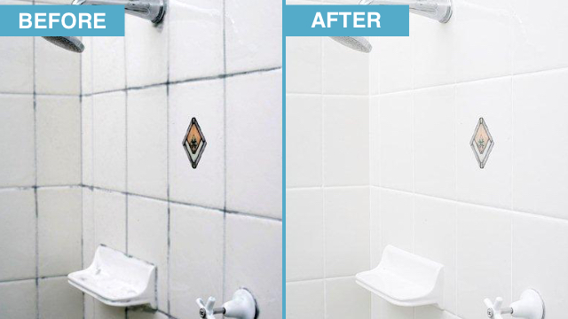 Before and after of bathroom dirty and stained tile