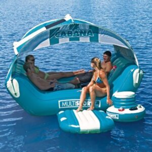 floating lake cabana with four people relaxing on it