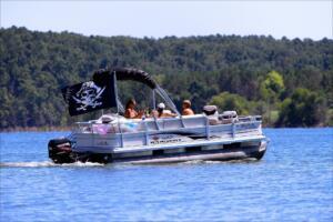 pontoon boat on the lake