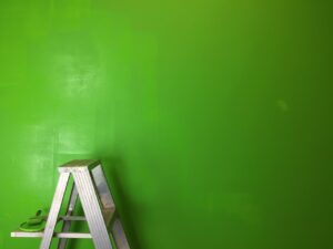 green wall with ladder