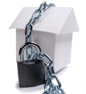 home with chain and lock