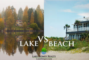 split image comparing lake homes and beach houses