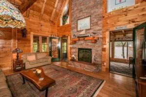 Living Room in Cherokee Lake Log Cabin