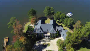 aerial view of large lake home on Lake Murray peninsula