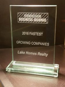 lake homes realty's Fast Track 30 plaque
