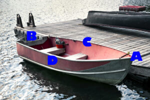 small boat near dock with labeling letters around it