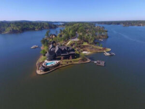 aerial view of island lake home in alabama