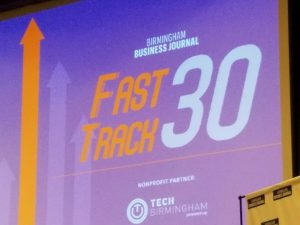 Birmingham Business Journal Fast Track 30 sign