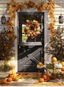 doorway decorated for fall