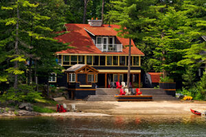 lake front lake house in wooded area