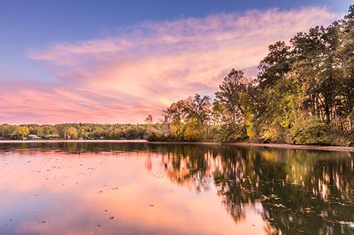 sun setting over Lake Hamilton