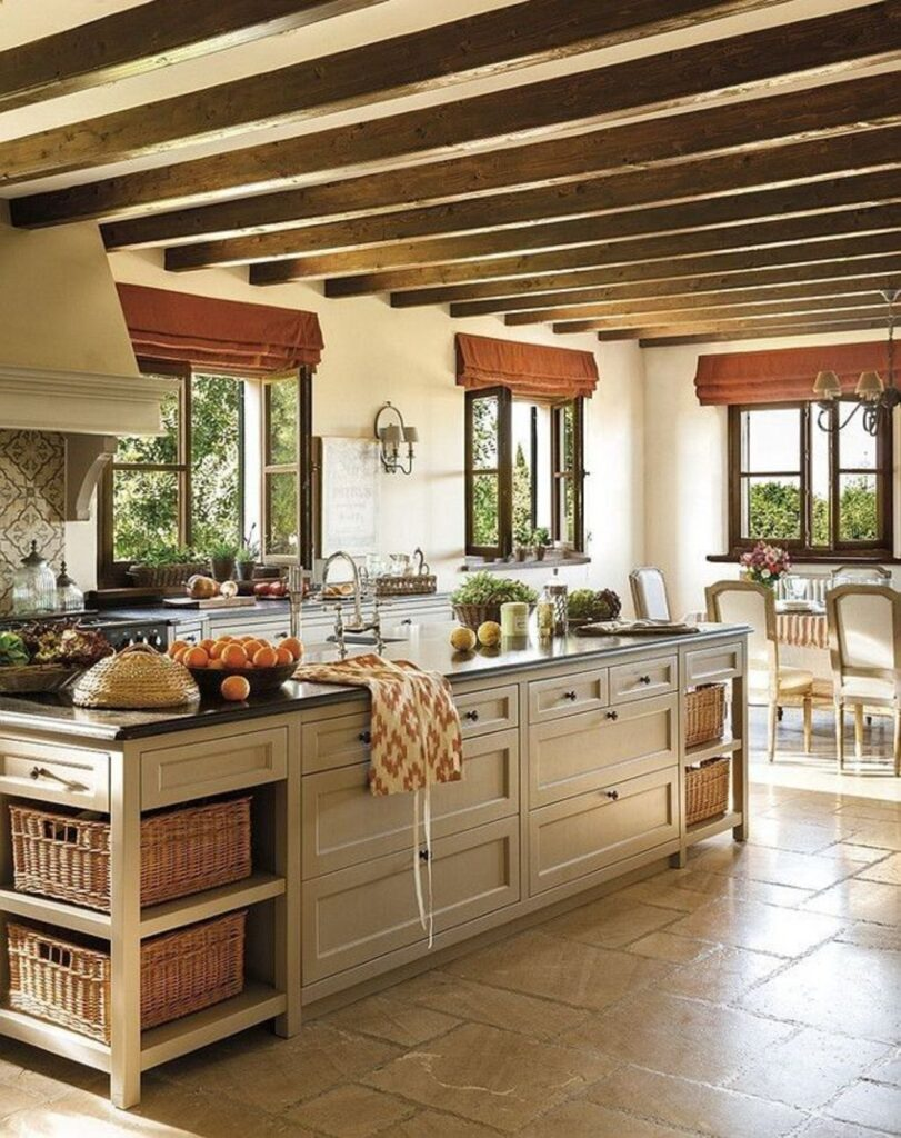 Rustic kitchen with stone tile