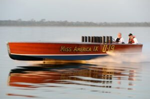 Miss America IX, 1930s speedboat on the lake
