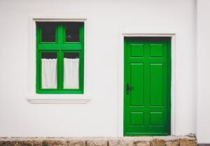 Green Front Door and window frame