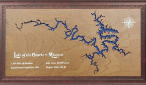 lake-inspired closing gift of laser-etched wooden lake of the ozarks map