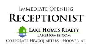 Job Opening - Receptionist - Lake Homes Realty
