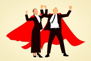 real estate agents, man and woman, in red capes