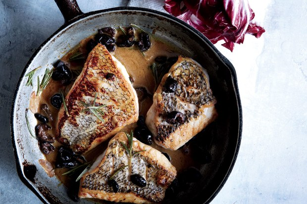 Fish recipe; black bass fillets in skillet