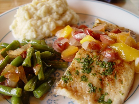 Fish recipe; mesquite-grilled pike with mango salsa