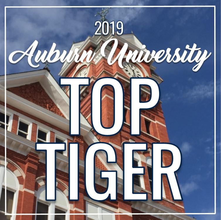 "Auburn University Image with text overlay ""2019 Auburn University Top Tiger"""