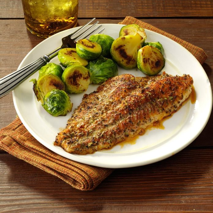 Fish recipe, plate of baked catfish and brussel sprouts