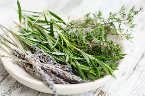 plate of herbs used for making your home smell inviting