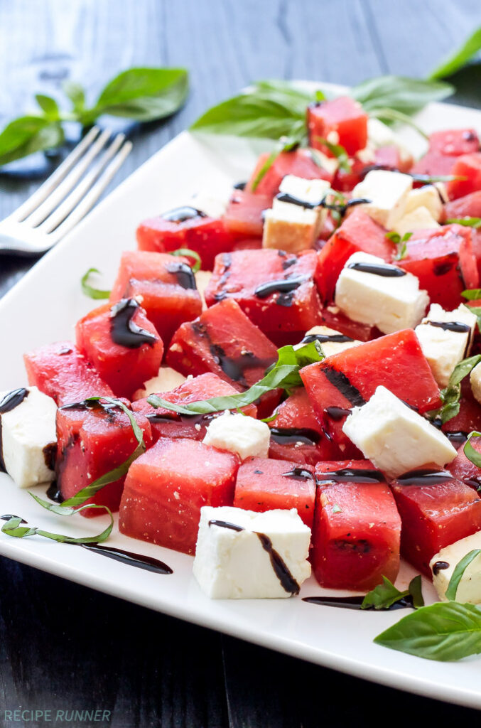 Grilled Watermelon Feta Basil-RecipeRunner Salad
