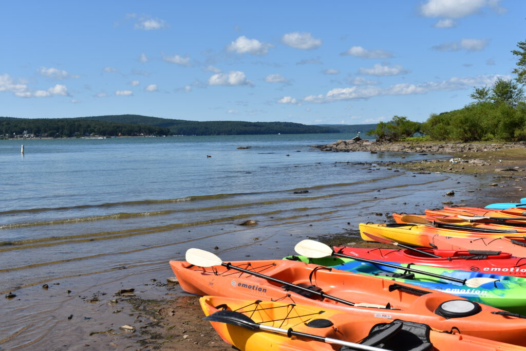 Kayaks at Lake Wallenpaupack shoreline