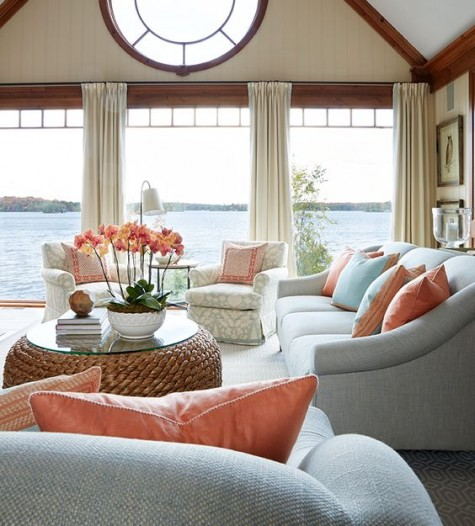 Living Coral Furniture Decor Lake Front Home