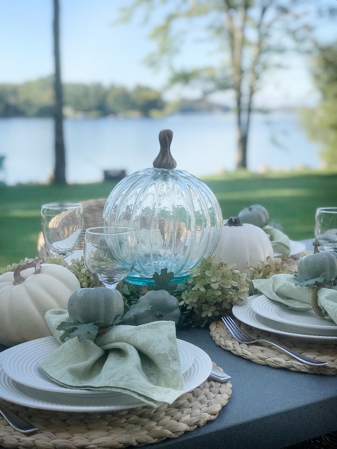 Simple fall table setting lakeside dining