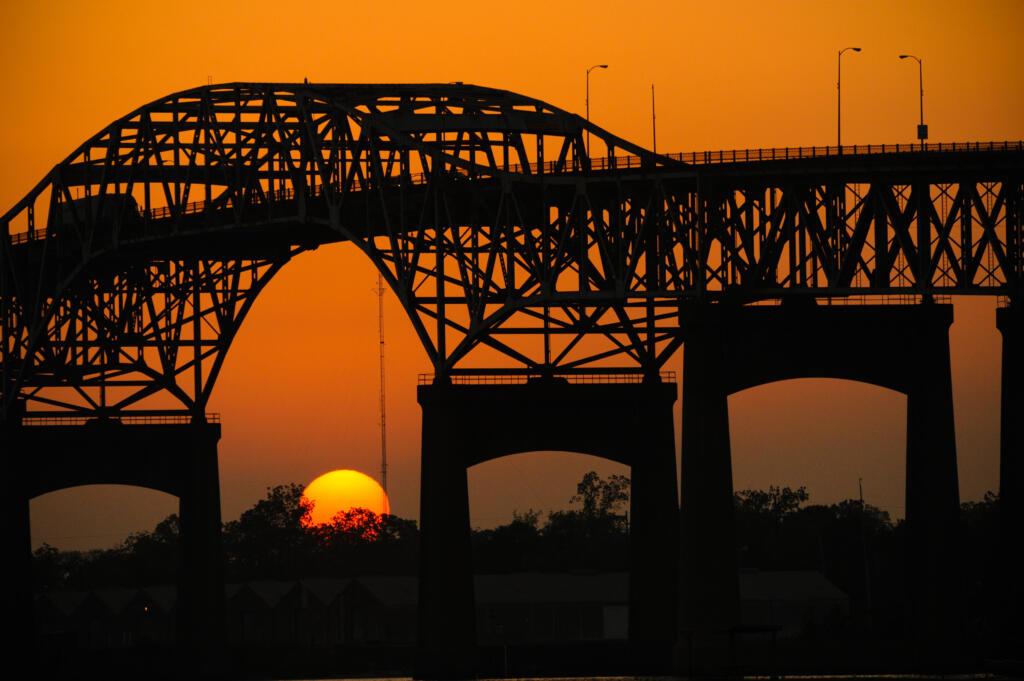 Sun setting over Interstate 10 Bridge Lake Charles Louisiana