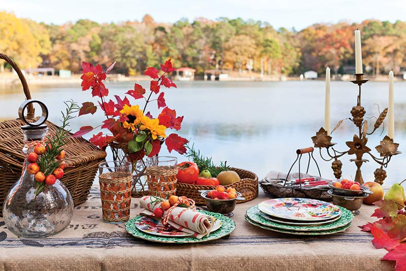 Autumn fall tablescape in front of lake