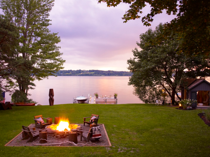 Image result for lakefront lakeside fire pit