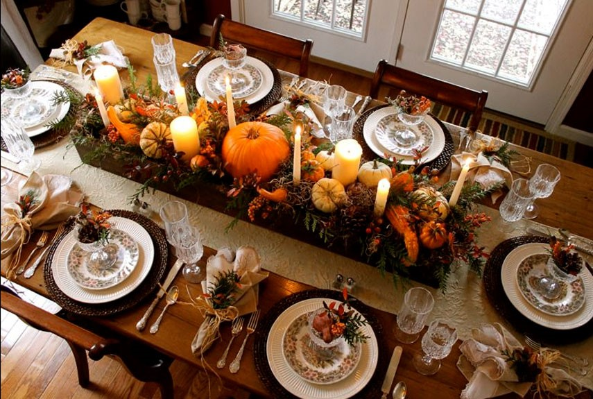 Fall autumnal tablescape for holiday season