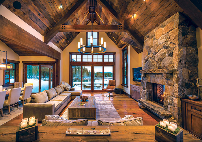 Indoor lake home living room with snow outside