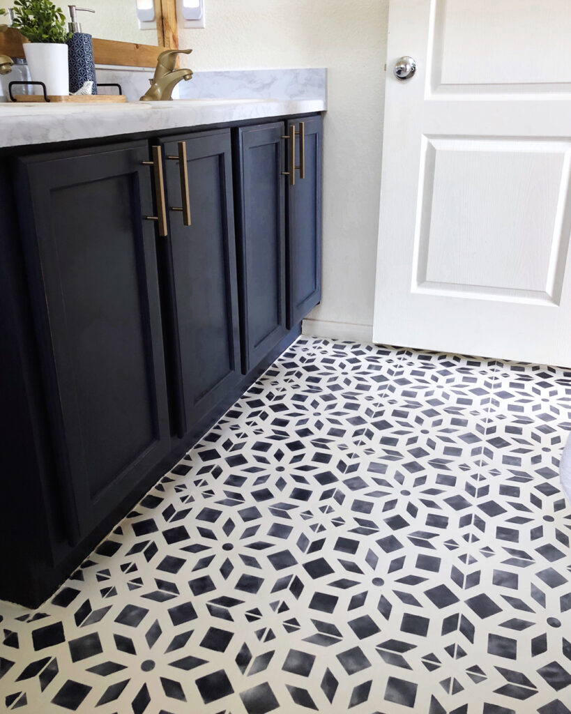 Hand painted linoleum floors with stencil navy blue