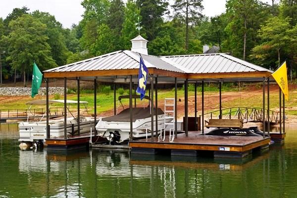 Lake house floating boat deck