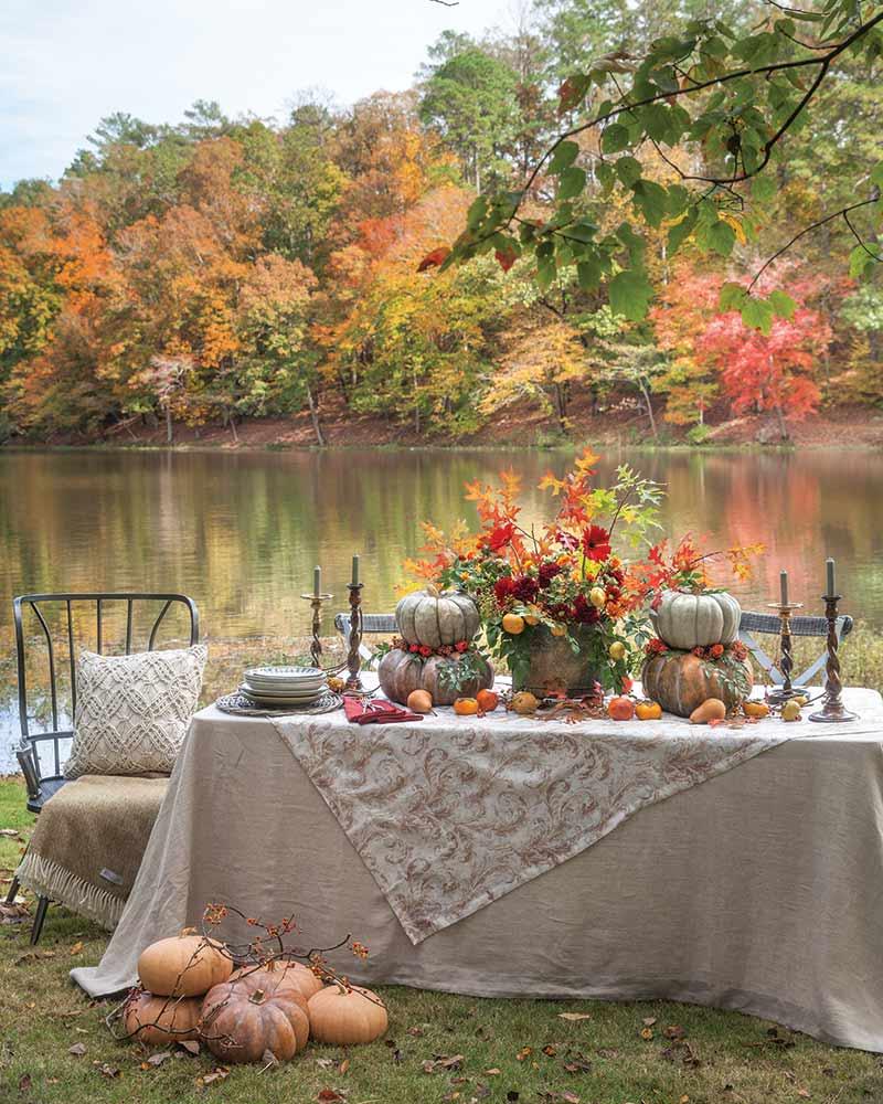 Lakeside Thanksgiving Turkey Day dinner table setting