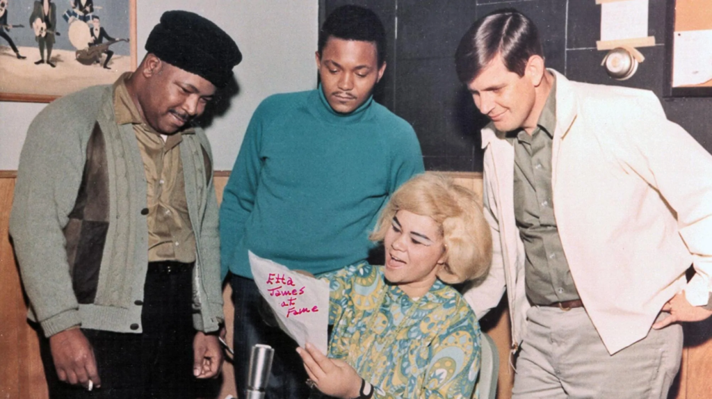 Rick Hall, right, with R&B singer Etta James and musicians Marvell Thomas and David Hood during a 1967 rehearsal at Fame Studios in Muscle Shoals, Alabama.
