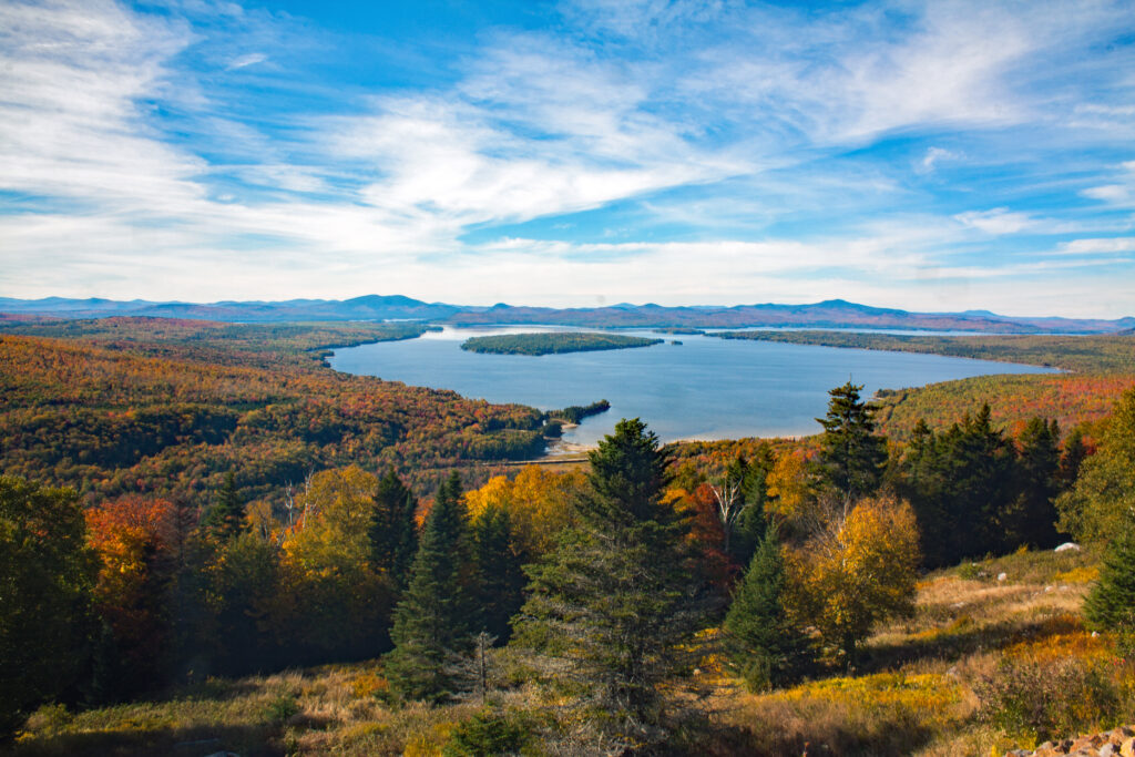 Rangeley Lake during autumn wide angle shot