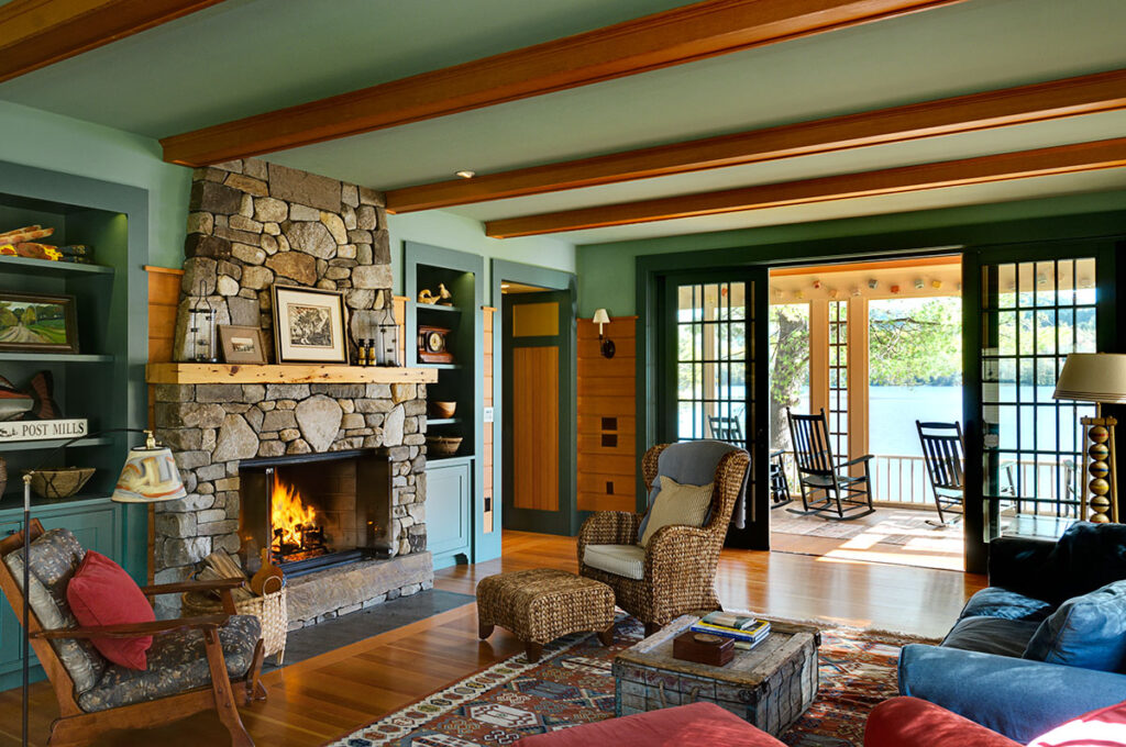 Smith and Vasant Architecture lake house in Vermont with green paint and view of the lake interior design trend